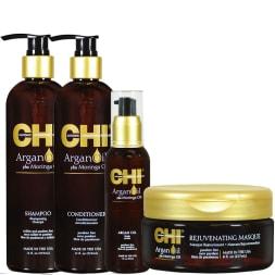 Routine complète - Huile d'argan - Cheveux secs & abîmés - 4 produits