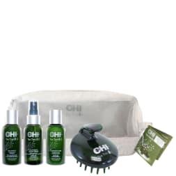 Trousse de voyage à l'huile de tea tree - Tous types de cheveux - 3 soins & une brosse